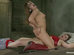 Stiff Competition: Ts Tiffany Star Fucks the Living Cow Girl Hell out of A Hot Southern Girl