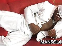 Ebony stud stroking his dick
