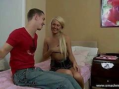 Blonde teen and boyfriend