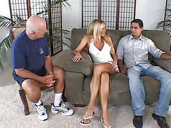 Blonde sucks cock knowing that he was looking husband