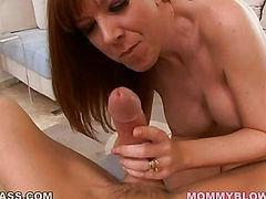 Hot mom gives a blowjob