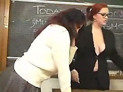 Busty Lesbian Teacher Works Over Hot Student