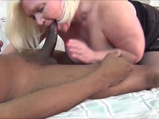 Chubby blonde granny gets black cock