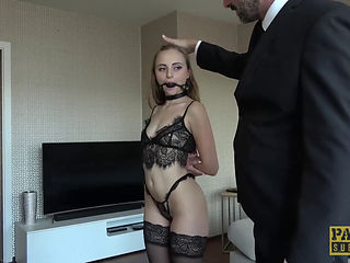 Mature woman fucking with panties on