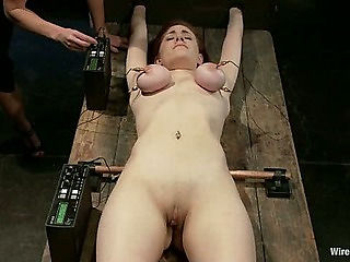 19 year old with big tits is electrified into orgasm