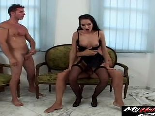 Babe's tight holes penetrated by a couple of fat boners