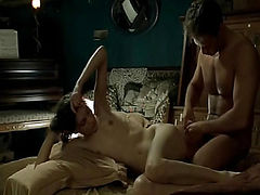 Caroline Ducey nude in bed with a guy as he puts on a condom and she begins to stroke him before she lays back and a guy uses his hand on her and then she flips over as he prepares to have sex with her from behind.Enjoy this explicit sex scene from Romanc