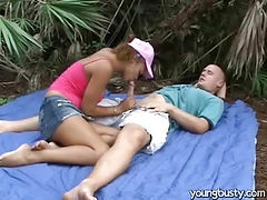 Young couple fucking in the garden