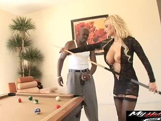 African stud cums on blonde milf's face after fucking her roughly