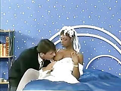 Ebony bride gets the groom and another hard cock in a threesome