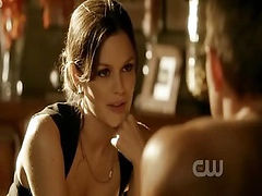 Rachel Bilson busting out some damn sexy and impressive sweaty cleavage in a skimpy dress. Then we see Rachel Bilson nude while she jumps into the river. From Heart of Dixie.