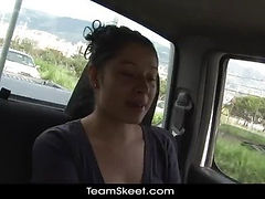 Oyeloca Hot naturally busty latina Valeria Rios bathroom blowjobs