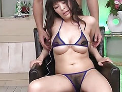 Horny Kyouko Maki bent over and filled with a huge pink dildo
