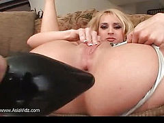 Blonde asian whore gets ass toyed and fucked by three cocks