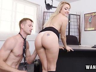 Cute Blonde Secretary Fucks Her Boss!