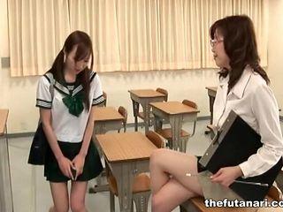 Schoolgirl and teacher stroke their cocks
