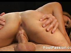 Petite Footsie Latina Rides a Cock