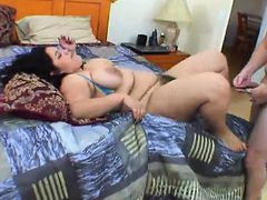 Lustful young plumper getting her hairy slit drilled hard on the bed