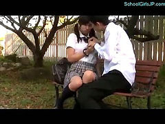 Schoolgirl Fingering Herself And Fingered By Schoolguy Squirting On The Bench In The Park