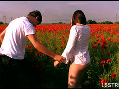 In the middle of a poppy field licks pussy girl