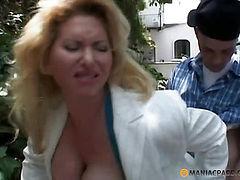 Blonde enjoys sex with a man