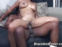 Black Pornstar Bambi Rides a Cock