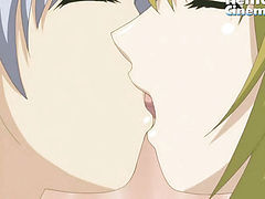 Two hentai lesbians kiss each other with tongue and fuck